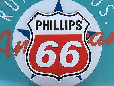 Top Quality Phillips 66 Diecut Red Shield Porcelain Coated 18 Gauge Steel Sign