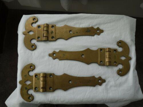 """3 Vintage Solid Brass 14"""" Strap Hinge Plates Large Huge Medieval Barn door Decor"""