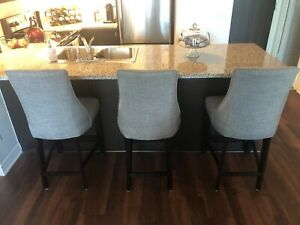 CONDO MOVING SALE: 3 DESIGNER DARK GREY BAR STOOLS
