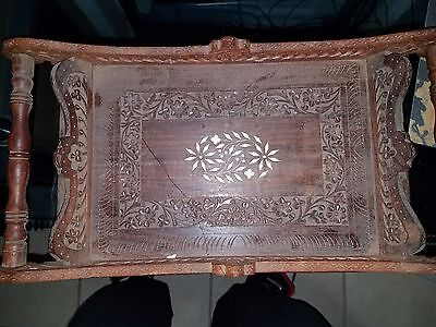 Vintage Made in India Handmade Wood Serving Tray