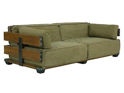 Grünes Stoff Sofa Couch (Sofa 2-Sitzer Stoff grün army Couch Holzsofa Sitzmöbel Polstermöbel neu Fairview)