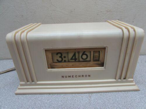 Vintage Art Deco Clock Pennwood Numechron Flip Numbers Electric Runs