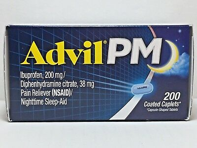 Advil PM Ibuprofen 200mg, 200 Coated Caplets *Pain Reliever, Nighttime Sleep Aid, used for sale  Seattle