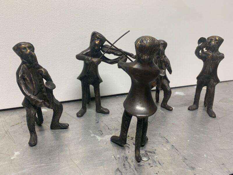 GATCO- Solid Bronze Brass Monkey Orchestra Band w Conductor 5 Piece