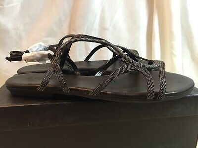 Inuovo Womens 8537 Ankle Strap Black Leather Sandals UK Size 6 / EU 39 RRP £60