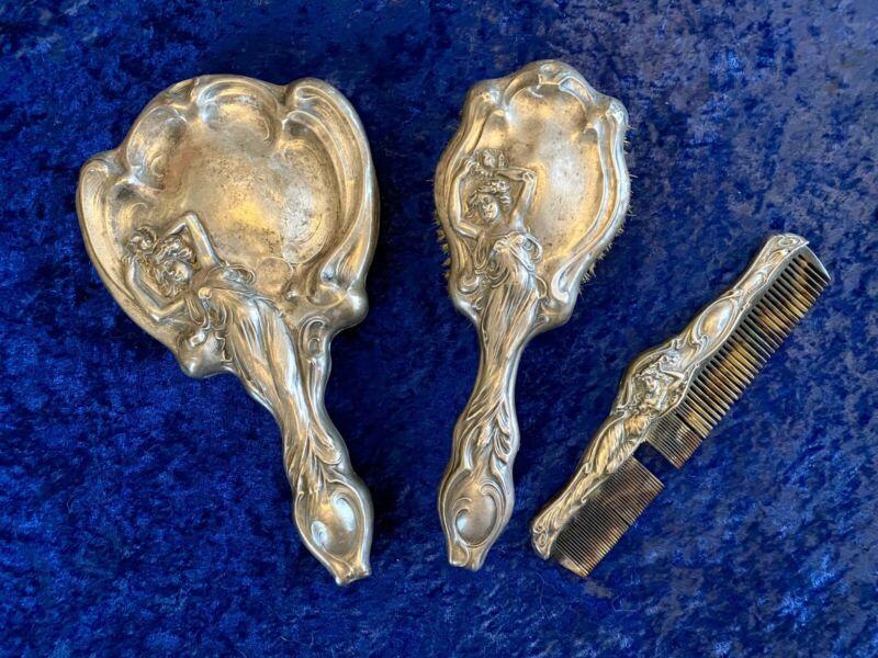Antique Art Noveau Sterling Silver 7 Piece Vanity Set