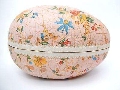 """Vintage German Easter Egg Paper Mache pink floral 7"""""""
