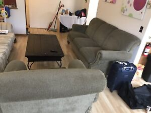 3 piece sofa and chair with hard wood Center/coffee table