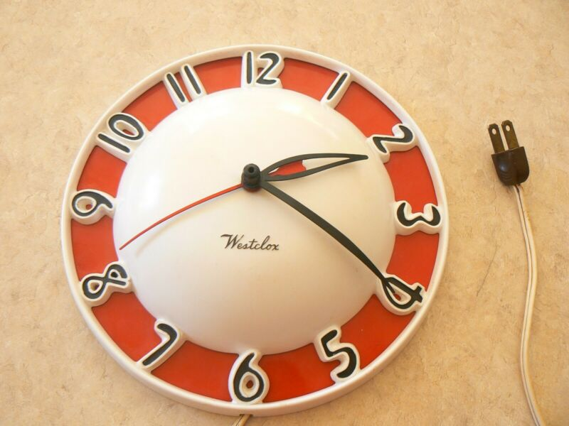 Vintage 1950s Westclox Melody Electric Wall Clock Mid Century Atomic Age