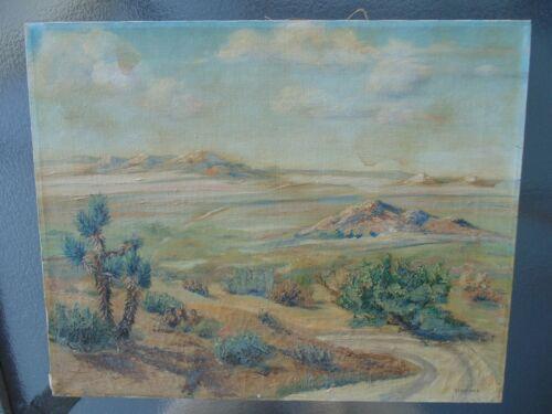 Vintage Edward Timmons California Artist Desert Landscape Oil Painting Ca 1930