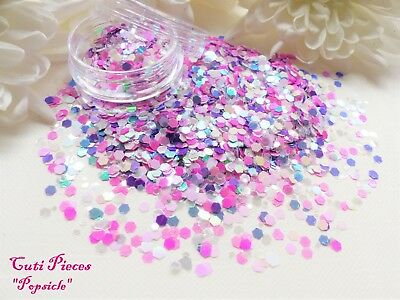 Nail Art *PopSicle* Pastel Pinks Hexagon Translucent Holographic Mix Glitter Pot