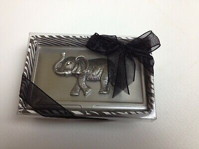 Elephant With Faux Diamond Eye Metal Card Holder  Business Credit Card Case