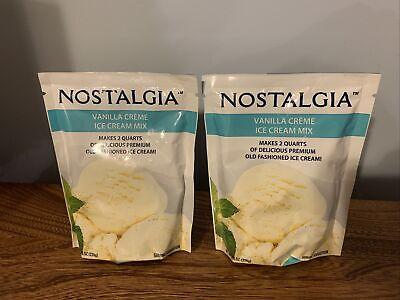 NEW 2 Pkgs Nostalgia Vanilla Crème Ice Cream Mix 8 oz Makes 2 Quarts Exp 01/23
