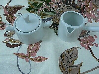 A. Vignaud Limoges France Mid Century Modern white porcelain cream and sugar