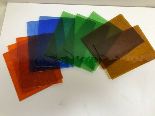 "Stained Glass Sheet Variety Pack of 10 - 5"" X 7"" Pieces of Colored Glue Chip"