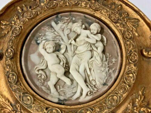 Antique Enrico Braga Italian Marble Relief Cherub Plaque: Gilt Frame