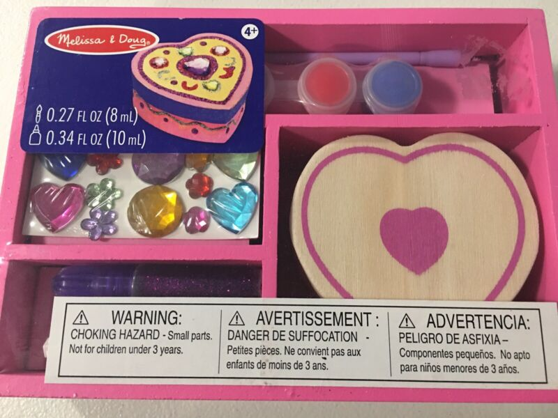 Brand New Melissa & Doug Decorate-Your-Own Wooden Heart Box Chest Craft Kit