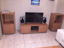 Entertainment unit with side displays beech timber look good condition Shell Cove Shellharbour Area Preview