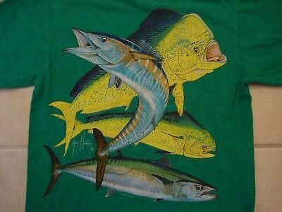 Guy Harvey Apparel Fish Tourist Green Cotton T Shirt Size S