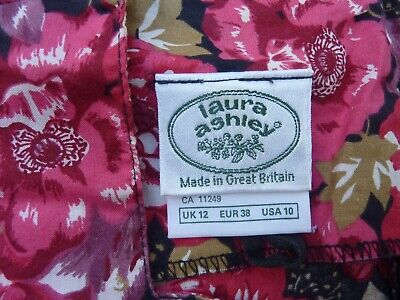 LAURA ASHLEY - Vintage Cotton Floral Dress - UK 12 - Red and Pink - REDUCED