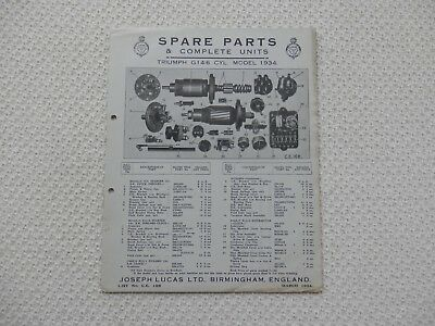 TRIUMPH G14/6 1934 LUCAS Parts List published March 1934