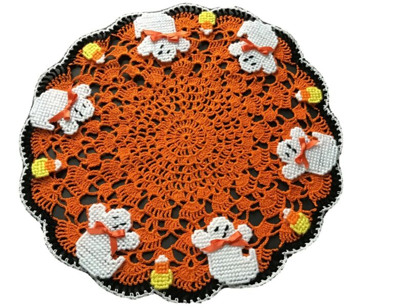 Brand New Hand Crocheted Halloween Ghosts And Candy Corn Centerpiece Doily