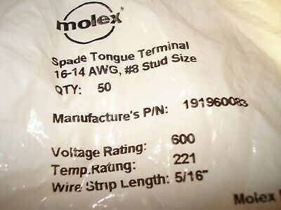 50 Pack Molex 16-14 Awg Insulated Crimp Spade Terminal Connector 8 Stud