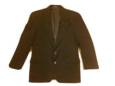 Joseph Abboud 40R Sport Coat Blazer Suit Jacket Black 100% Wool USA