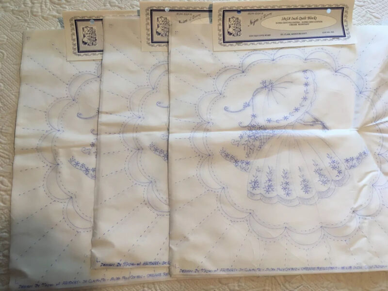 18 (3 Pkg of 6) Quilt Blocks to be Embroidered COLONIAL LADY by Nojae of Fairway