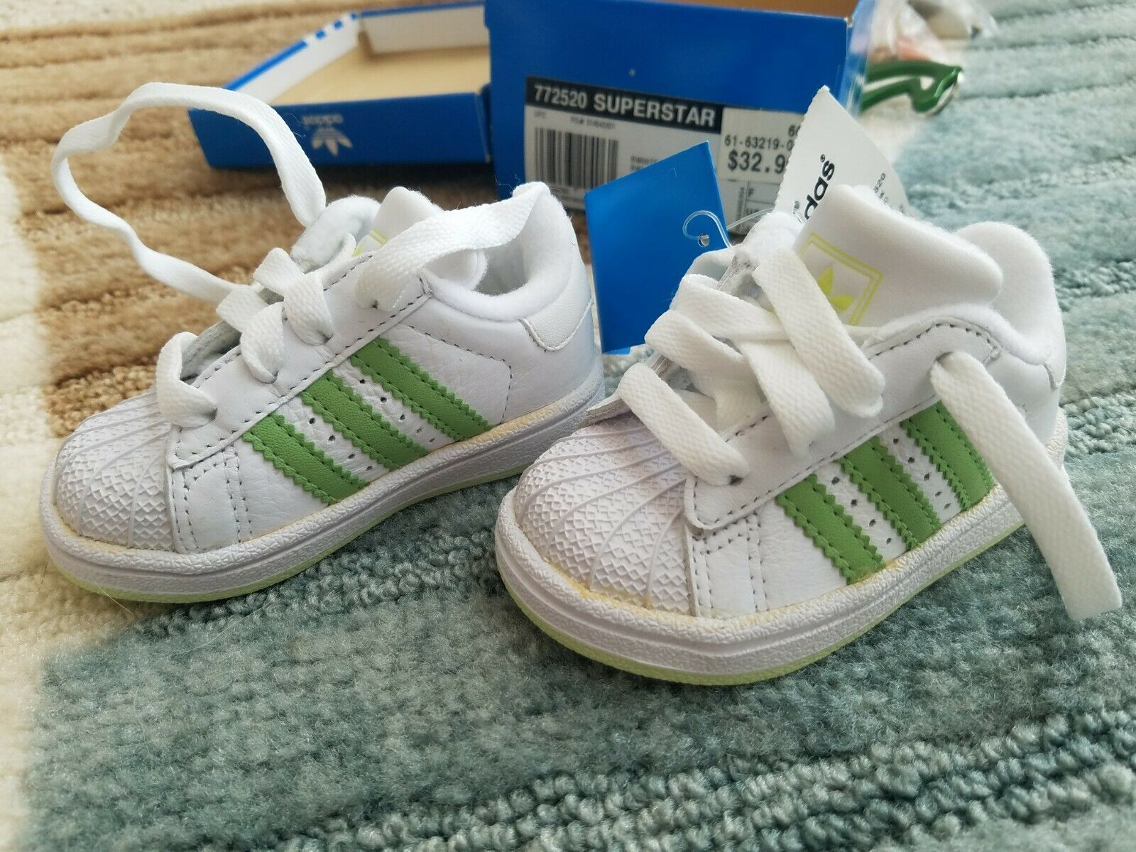 ADIDAS SUPERSTAR II White Lime Green Stripe Trace Toddler Baby Shoes 4K