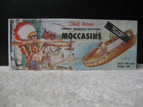 Vintage 1958 Chief Arrow Leather Kids Moccasins Kit Indian Chief With Box