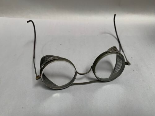 Vtg  Steampunk Cesco Industrial Safety Glasses Goggles Mesh Cage Sides (A5)