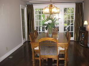 solid wood dining table, 6 chairs and china cabinet