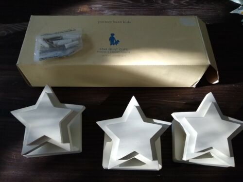 POTTERY BARN KIDS STAR QUILT CLIPS set of 3 WHITE WOOD
