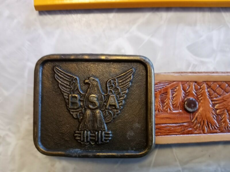Vintage BSA Boy Scouts Of America Leather Belt And Brass Buckle