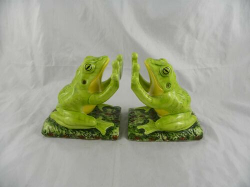 Nice Vintage 1975 Aldon Ceramic Porcelain FROG Figurine Bookends Made in Japan