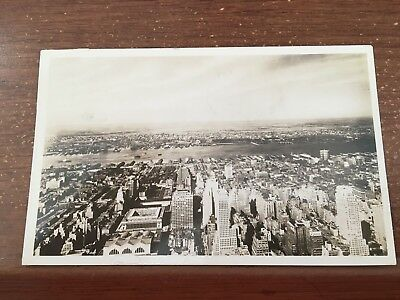 MANHATTAN NYC BIRD'S-EYE WEST VIEW FROM EMPIRE STATE BLDG. RPPC P/C