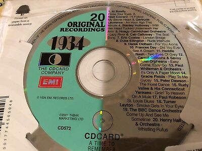 Birthday CD Card 1934 Music Best of Top 20 Hits in England all original Artists
