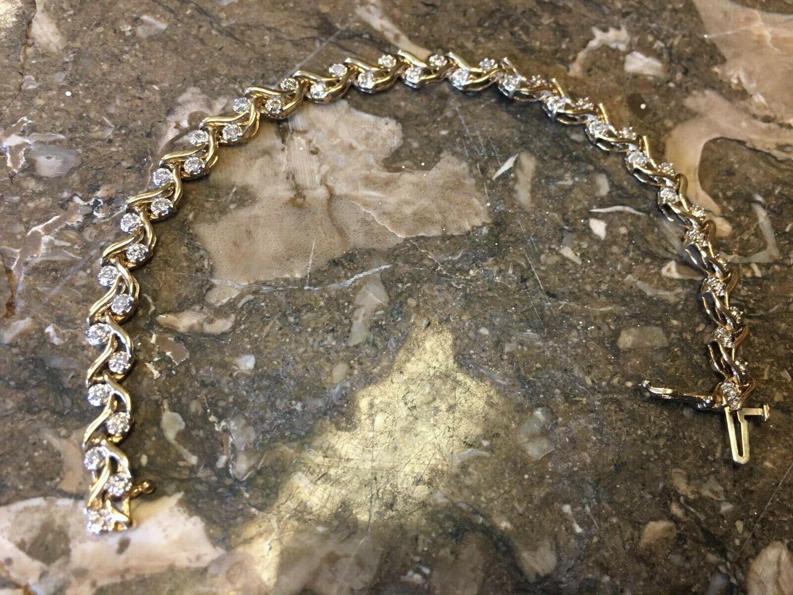 "NWT: 10k YELLOW GOLD, 1.32 TWC DIAMONDS, 6.4 grams, TENNIS BRACELET, 6 3/4"""