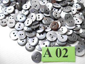 Kleine Knöpfe, Perlmuttknöpfe Mix silber-grau toller  Schimmer 11-13mm 80 St A2