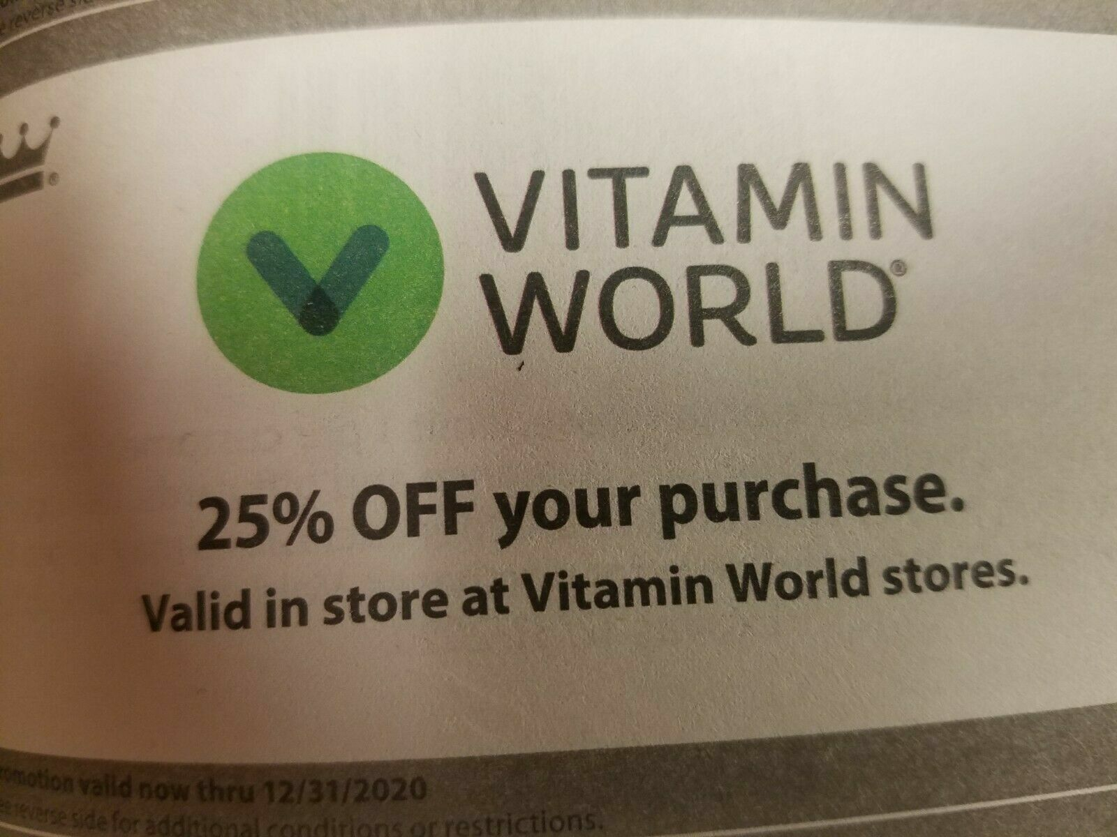 Vitamin World Coupon - 25 Off Purchase, Expires 12/31/2020 - $2.99
