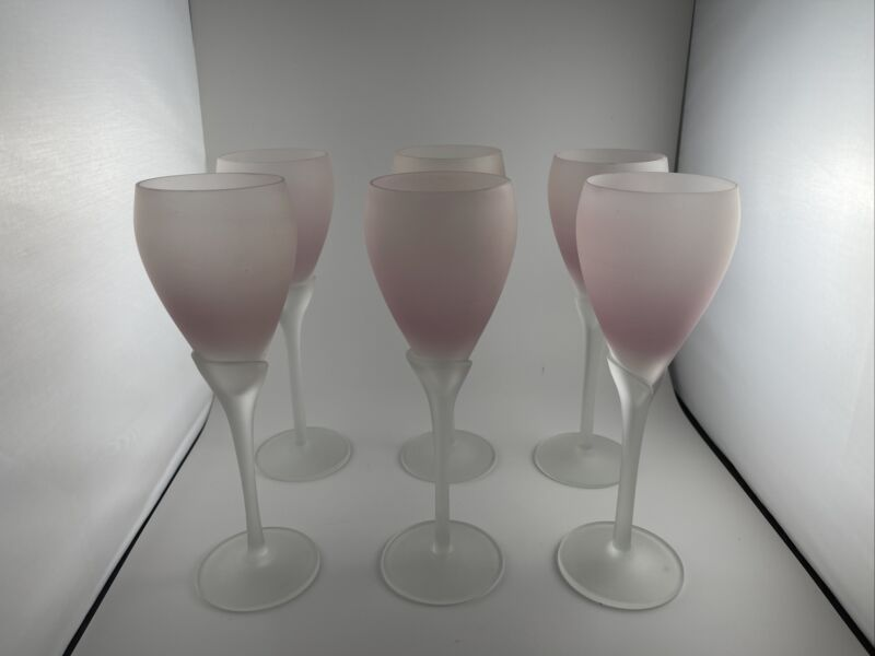 Vintage Lilly Tulip Frosted Pink Crystal Stem Wine Glasses - Set of 6
