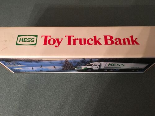 HESS TOY TRUCK TRACTOR AND TRAILER BANK.