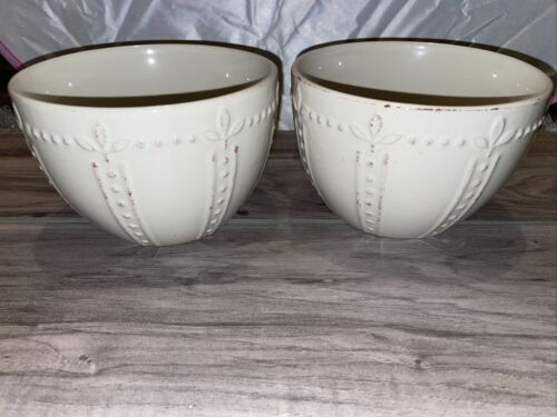 2 Signature Sorrento Debby Segura All Purpose Large Soup Bowls 6 Ivory - $20.00