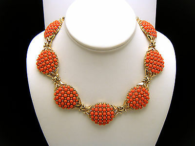 Crown Trifari Vintage Necklace Coral Lucite Bead Cabochons Gold Tone Choker on Lookza