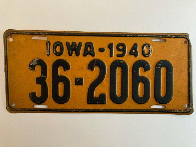 1940 Iowa License Plate All Original Paint