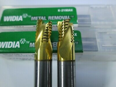 Lot 2 Pcs Widia Carbide 14 Roughing End Mills 3 Flute Milling Rougher Tool