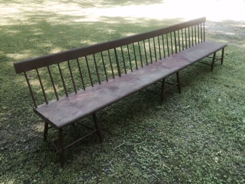 Antique Shaker Meetinghouse Bench Original Shaker Red 10 Feet