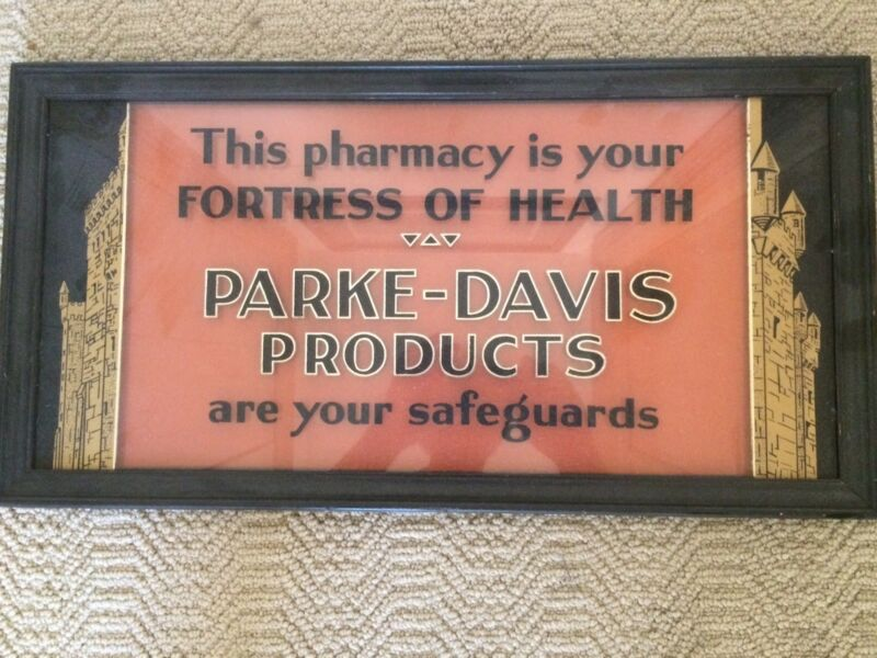 Antique PARKE-DAVIS---PHARMACY reverse painted GLASS  advertsing  sign