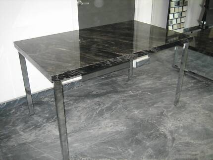 BLACK GRANITE TABLE, CHROME BASE, DINING & COFFEE TABLE SET Derrimut Brimbank Area Preview